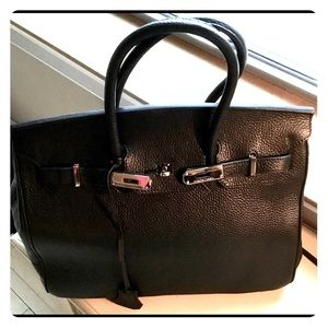 Handbags - Black birkin look alike with Silver hardware